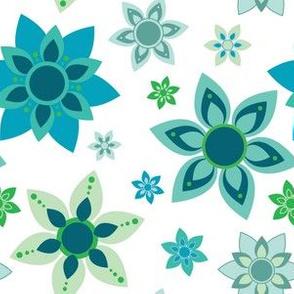 Blues and Greens Mandala Flower Girl Power