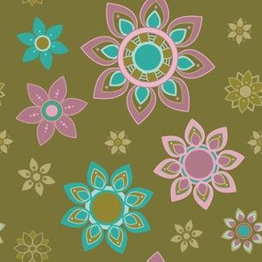 Blues Pinks and Tans Mandala Flower Girl Power