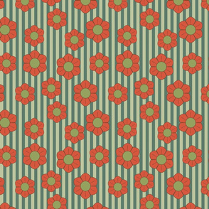 red green retro flowers