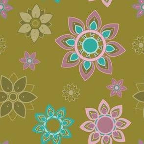 Teal Pink and Tan Mandala Flower Girl Power