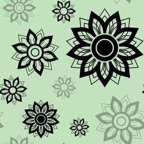 Floral Layered Mandala Mint Black Circles Pattern