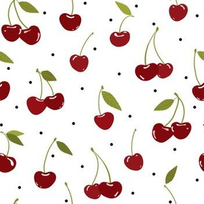 Cherry Pickin'|Red Fruit on White|Renee Davis