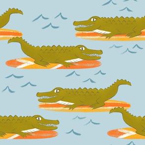 Surfing Alligators - large scale