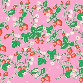 Micro Strawberry Patch on Pink