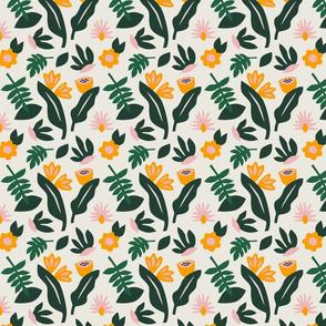 Leafy pattern in cream, SMALL