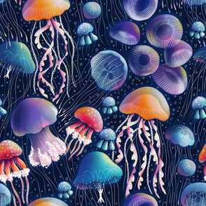 Jellyfish bioluminescent disco party, awesome sea creatures pattern