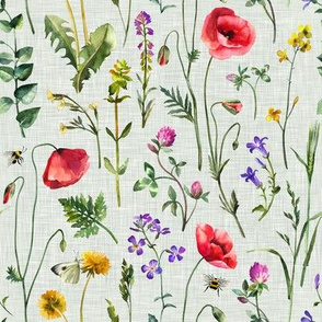 Summer Meadow / Sage Linen Texture / Small Scale