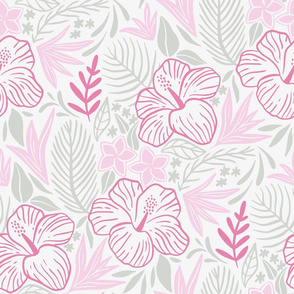 Tropical leaves and flowers in pink tones