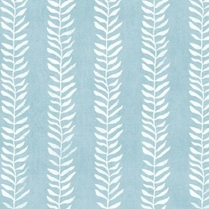 Botanical Block Print in Turquoise | Leaf pattern fabric from original block print, plant fabric, white on duck egg blue.