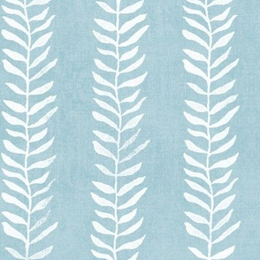 Botanical Block Print in Turquoise (large scale) | Leaf pattern fabric from original block print, plant fabric, white on duck egg blue.