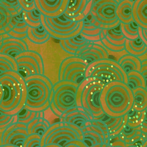 abstract circles layered // emerald // large