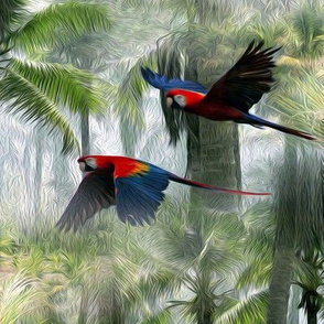 parrots - large - painting effect