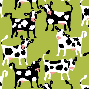 Silly Cows on Green / large scale