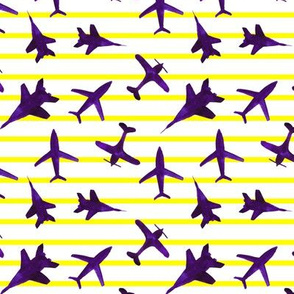 Purple airplanes on yellow stripes - watercolor planes