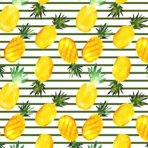 Watercolor pineapples with stripes - painted tropics