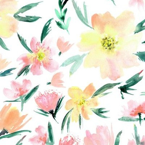 Blush spring in Venice - watercolor pastel flowers for modern home decor, bedding, nursery