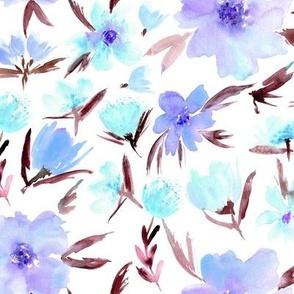 spring in Venice -  watercolor  aqua and violet florals p286