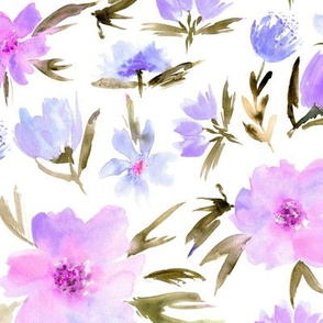 Lilac spring in Venice - watercolor blush flowers for modern home decor_ bedding_ nursery p286