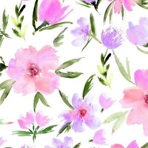 Tender spring in Venice - watercolor blush flowers for modern home decor, bedding, nursery