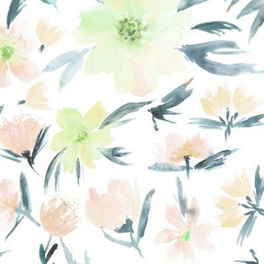 spring in Venice - watercolor blush flowers for modern home decor_ bedding_ nursery p286