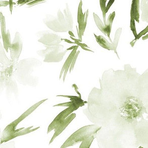 Olive green spring in Venice - watercolor blush flowers for modern home decor_ bedding_ nursery 286