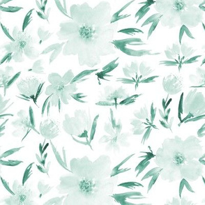 Soft spring in Venice - teal watercolor blush flowers for modern home decor, bedding, nursery