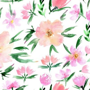 Spring in Venice - watercolor blush flowers for modern home decor_ bedding_ nursery