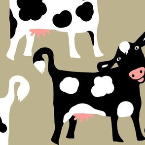 Funny Cows on Beige  / Largel scale