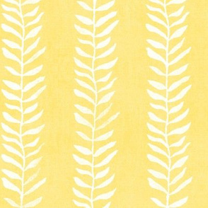 Botanical Block Print in Sunshine Yellow (large scale) | Leaf pattern fabric, sunny plant fabric for garden and coastal decor.