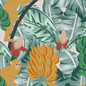 Banana Monkey- Tropical Surrealist Dream- Goldenrod Monkeys with Green Banana Cluster Flower Tails- Blush Ash Gray - Large Scale