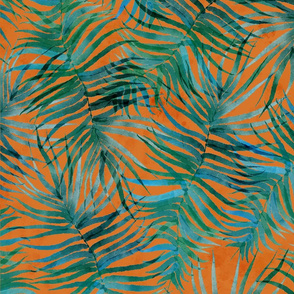 """Watercolor Teal Palms (terracotta) 21"""""""