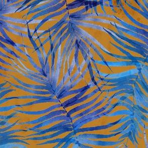 "Watercolor Blue Palms (terracotta) 14"""