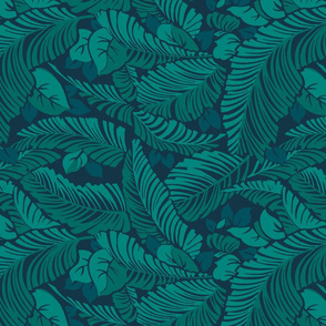 Tiki Tropics Leaves- Navy