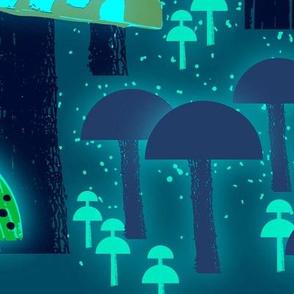 Wild About Mushrooms Florescent Blue