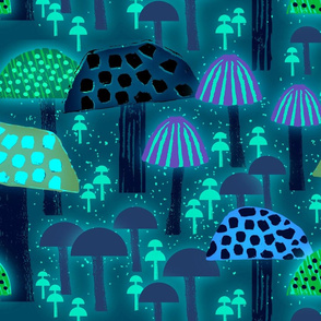 Wild About Mushrooms Florescent Blue