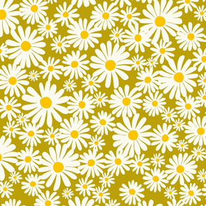 Daisies on Pea Green