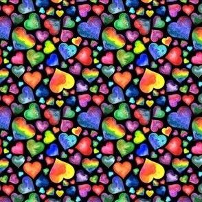 Small Rainbow Hearts Black
