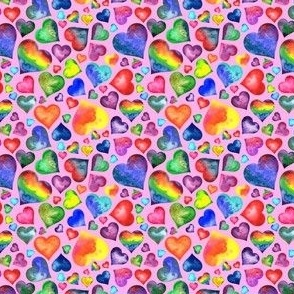Small Rainbow Hearts Pink