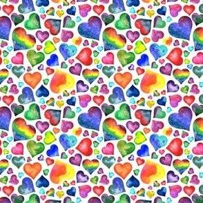 Small Rainbow Hearts White