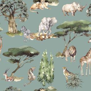 jungle animals on mint