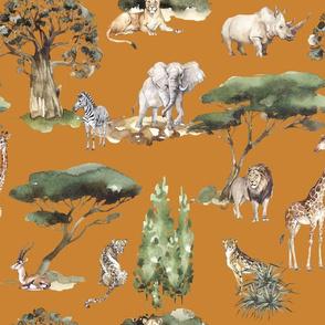 jungle animals on mustard linen