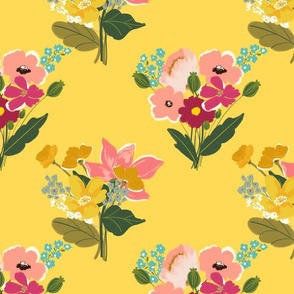 Boho Chic Flowers Yellow TerriConradDesigns