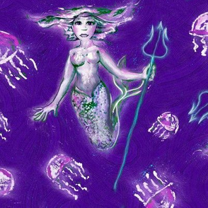 Jellyfish Mermaid Queen --  Violet Waves