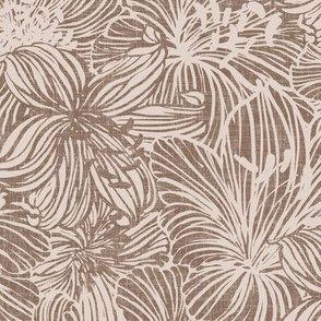 big tropical lilies in maroon on linen