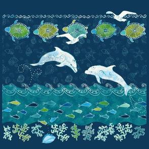 ocean batik quilting squares
