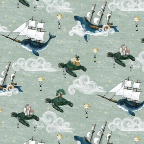 Nautical Fantasy Sea Turtle Islands, Whale and Narwhal  Tall Ships Sky Adventure jumbo 6 inch unisex, kids nursery, baby  boy