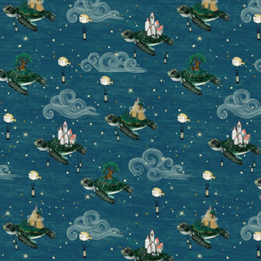Sea turtles in the soothing night sky stars nautical, 4 inch, whimsical, gender neutral unisex nursery, kids and baby , hand-painted, fantasy, magical, baby boy
