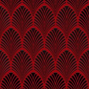 Art Deco Fans black on red