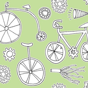 Bicycles on Mint Green
