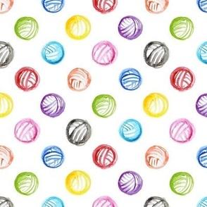 Rainbow watercolor yarn balls